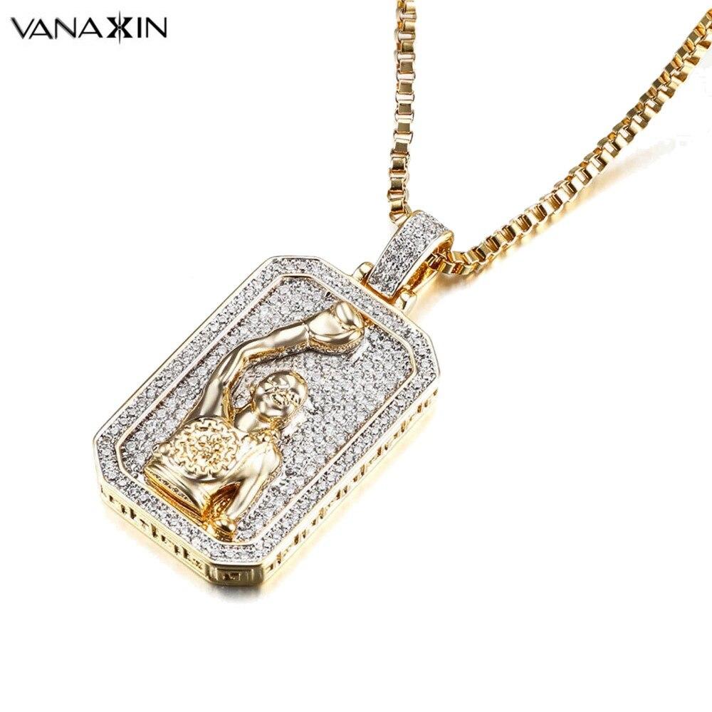 VANAXIN Boxing Sport Jewelry Men Silver/Gold Color Jewels Hip Hop Square AAA Zircons Shiny Engagement Pendants Necklaces Men Box