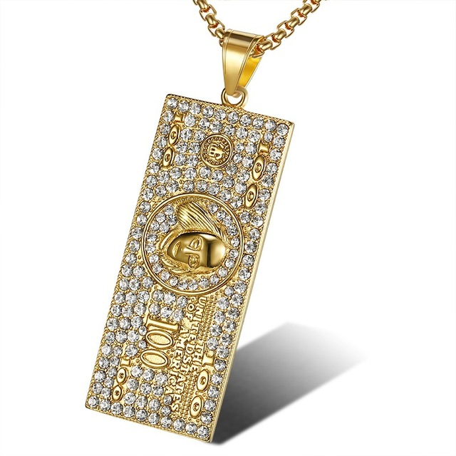 US $100 Dollar Money Necklace & Pendant