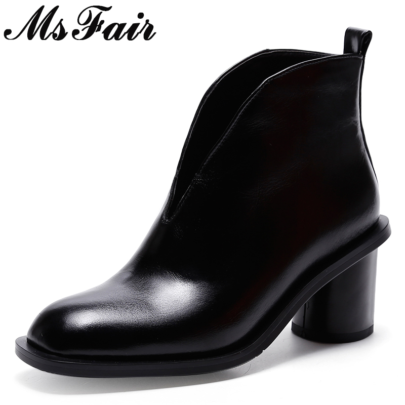 MsFair Round Toe High Heel Women Boots Genuine Leather Sexy Ankle Boot Woman Winter Elegant Fashion Ankle Boots Women Shoes msfair pointed toe high heel women boots genuine leather rivet ankle boots women shoes elegant black ankle boots shoes woman