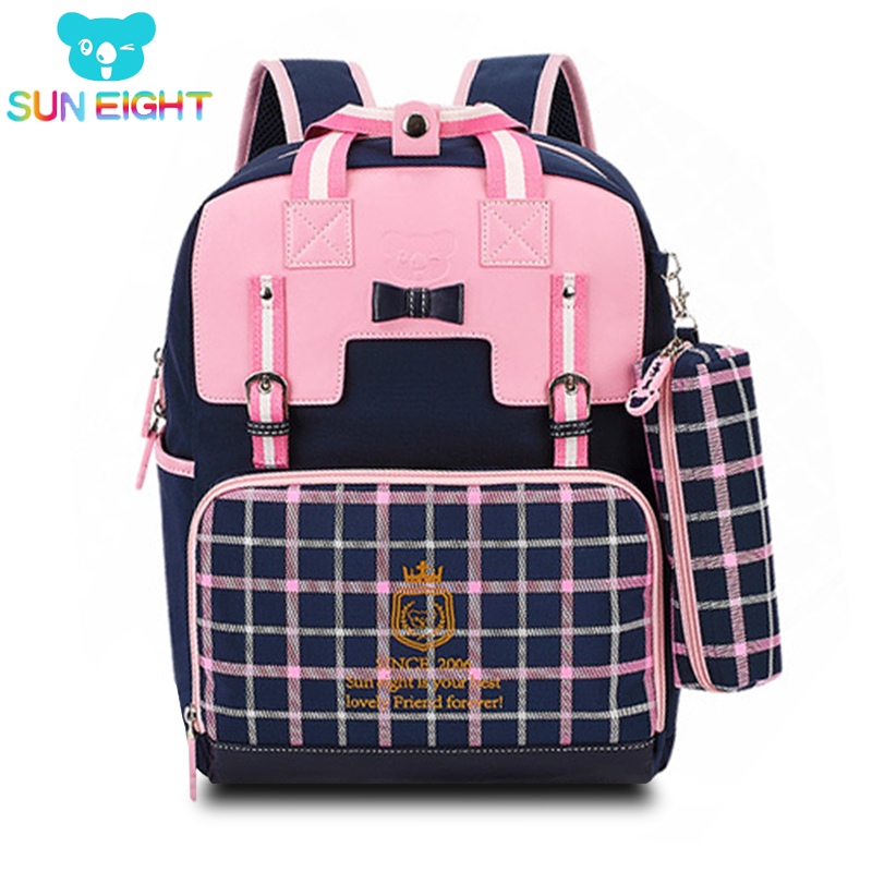 SUN EIGHT 16 Inch Noble Backpacks For Girls Girl Bags Kids Shoulder Zipper Girl Backpack Bag Kids Birthday