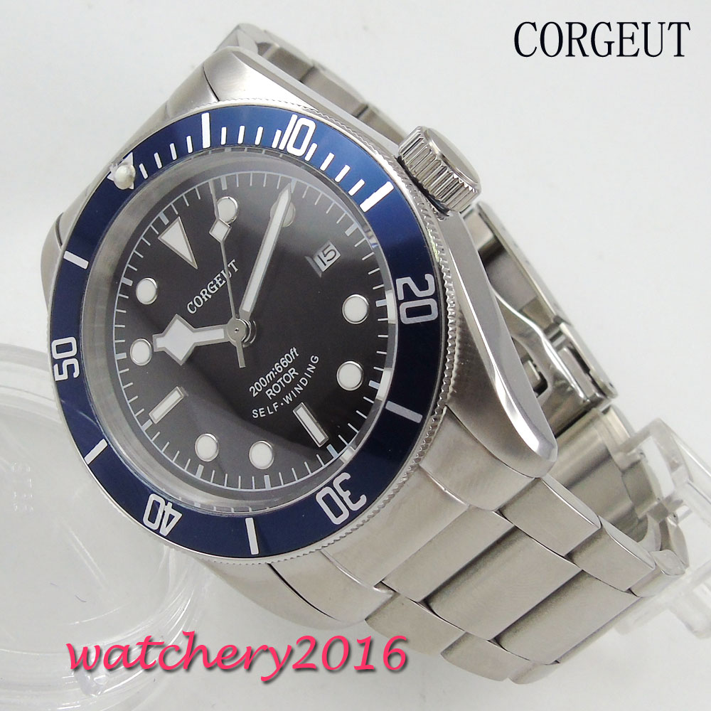 41mm Corgeut black dial blue ceramic bezel 2017 top brand Luxury Newest Hot sapphire glass miyota automatic movement Men's watch коньки onlitop 38 41 blue black 1231419