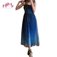 Japanese Fashion Galaxy Blue Starry Dress Women Lolita Summer JSk Soft Sister Cute Fairy Dress Lace Princess Tulle Strap Dress