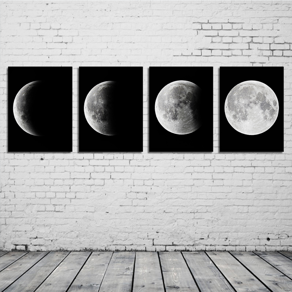 4pcs Alist Moon Phase Canvas Black White Printed Oil Painting Poster  Picture For Home Office Decoration Wall Room Home Decor In Painting U0026  Calligraphy From ...
