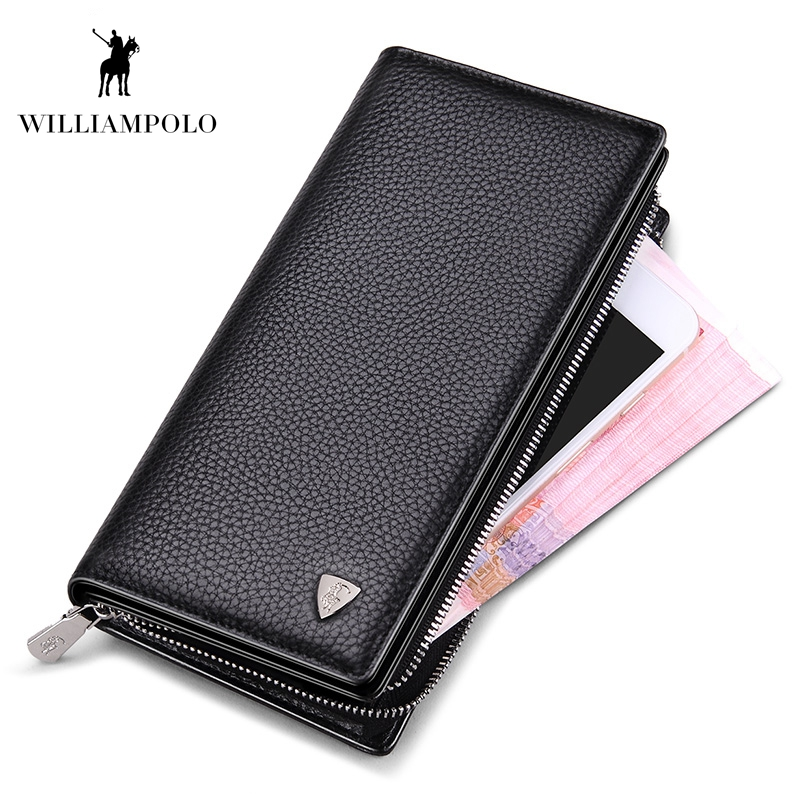 WilliamPOLO Mens Wallet Zipper Hasp Lång Äkta Läder Business Phone With Strap Kreditkort Koppling Coin Plånbok PL128