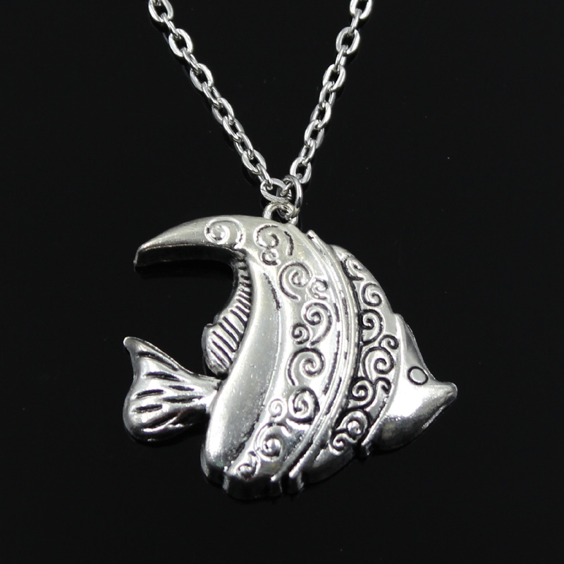 Simple Classic fashion goldfish tropical fish Antique Silver Pendant Girl Short Long Chain Necklaces Jewelry for women