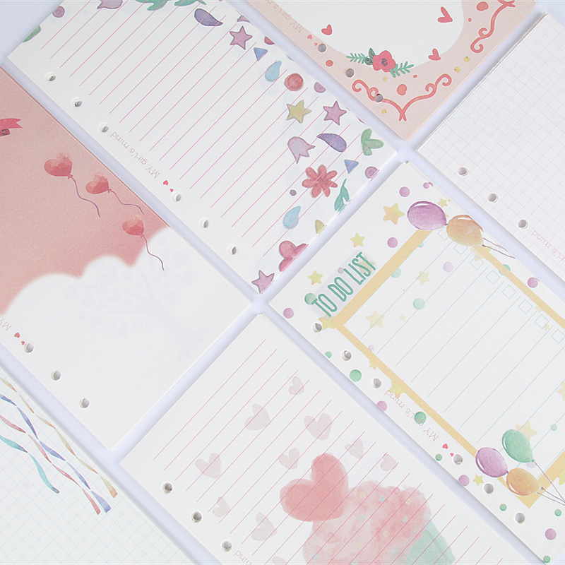 100 Sheets Girly Cute School Notebook Filler Paper Set A6 Kawaii Diary Refill Set For Filofax Planner 2018 Korean Stationery