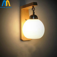 LED Wood glass ball children stair wall lamps up down for bedroom classic wall sconce lighting