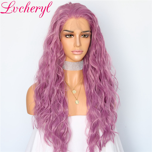 Lvcheryl Trendy Front Lace Wigs Mixed Peach Purple Water Wave Heat Resistant Synthetic Lace Front Wigs for Party Wear