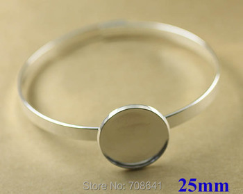 25mm New Silver Plated Brass Round Circle Bezel tray Blank Cabochon Bases Lock cuff Bracelet Bangle Settings Findings Wholesale