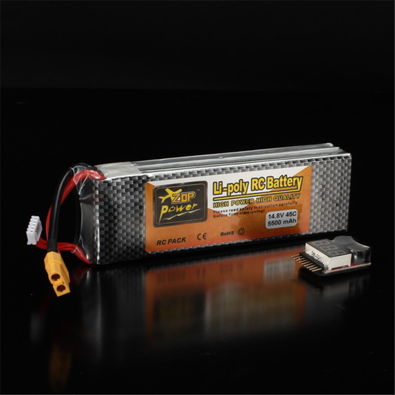 Rechargeable Lipo Battery ZOP Power 14.8V 5500mAh 4S 45C Lipo Battery XT60 Plug With One Remote Battery Monitor