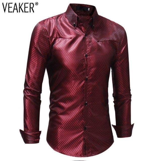 02848e984a168a 2018 Autumn New Men s Silk Shirts Male Black Red Satin Business Plaid Shirts  Men Slim Fit