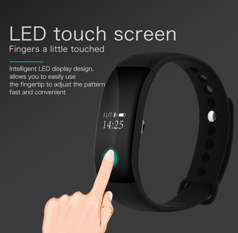Smartch Heart Rate Monitor Bluetooth Fitness Smart Bracelet for HTC Samsung S7 iPhone 7 V66 Smart