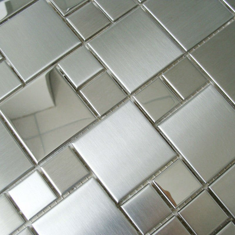 stainless steel tile backsplash silver metallic mosaics