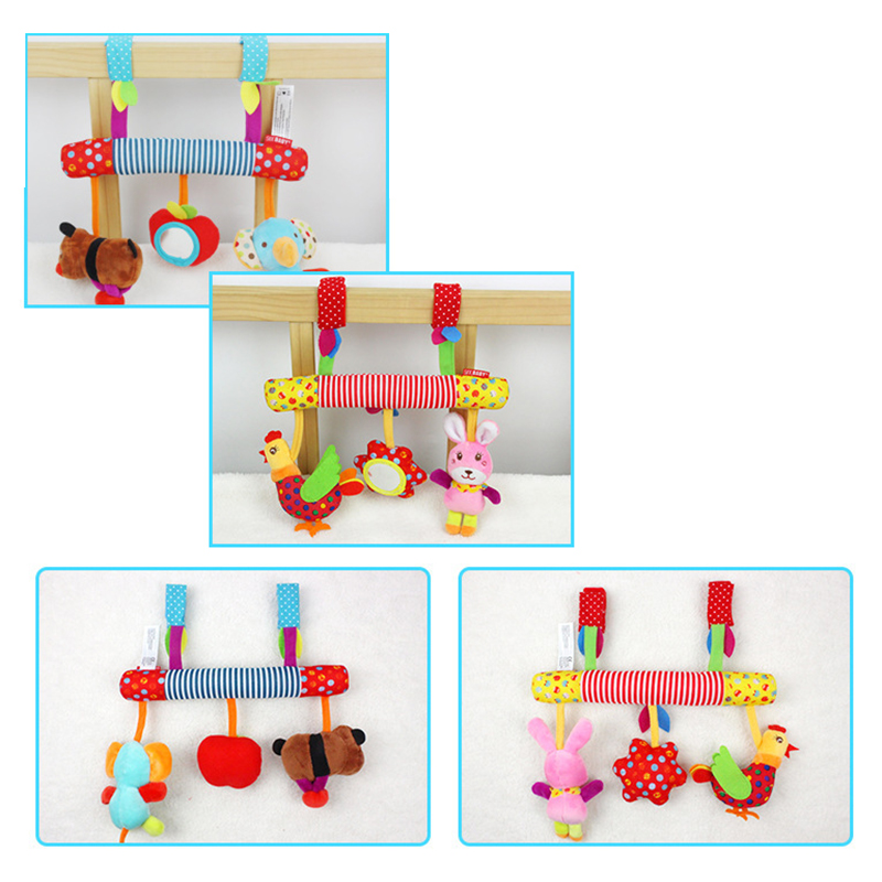 RCtown Multifunctional Baby Kids Car Pram Hanging Toy Cute Animal Music Crib Plush Toy Gift zk30