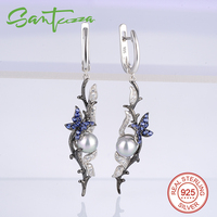 925 Sterling Silver Pearl With Blue Nano White Cubic Zirconia Russian Lock Earrings