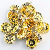 Moda jóias grânulos de Charme! 500 PCS De Ouro Pedrinhas Rondelle Spacer Contas de 6mm de Cristal Um nível Atacado e varejo