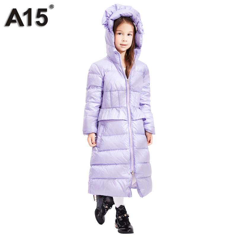 A15 Winter Coat Girls Hooded Fur Kids Girls Down Jacket for Girl 2017 Brand Warm Parka Coats Outerwear Clothes Size 8 10 12 14 Y a15 girls down jacket 2017 new cold winter thick fur hooded long parkas big girl down jakcet coat teens outerwear overcoat 12 14