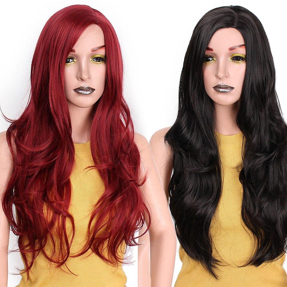 मैं महिलाओं के लिए एक विग सिंथेटिक लाल विग लंबे लहराती बाल काले जोड़े वेव Cosplay विग Glueless बाल उच्च घनत्व है