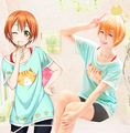 Live love ! Hoshizora Rin cotton cat print t-shirt cosplay women's