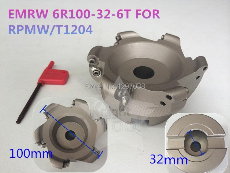 EMRW 6R100-32-6T Round Dowel Face Mill Cutting diameter 100mm RPMW/T1204 Inserts full face pcd inserts rngn0904