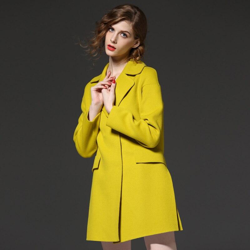 Long Femmes La Automne Manteau Femme Taille Hiver Nouvelle Manches Manteaux 2017 Plus Chaud À Longues Laine 1 Jaune Épais Outwear En aqa8wPr