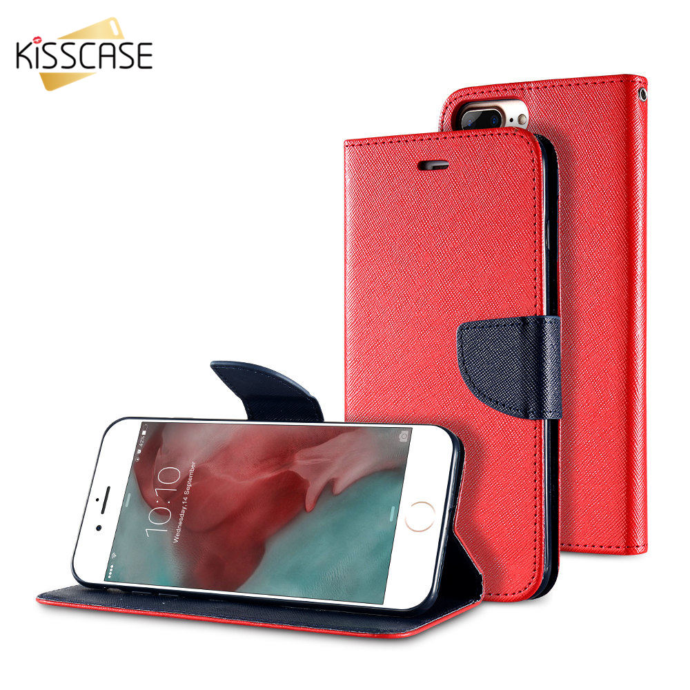 Fashion PU Leather Flip Case For Iphone 7 Plus 6S 6 Plus Luxury Dual Hit Color With Card Slots Stand Cover For Iphone 6S 7 Plus