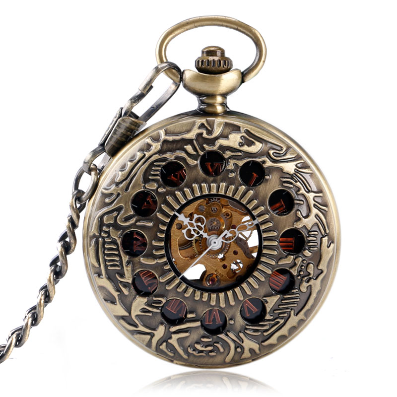 Retro Bronze Hollow Case Roman Number Skeleton Steampunk Dial Design Hand-wind Mechanical Fob Pocket Watches with Chain for Men antique hollow carving horse quartz pocket watch steampunk bronze fob clock for men women gift item with necklace 2017