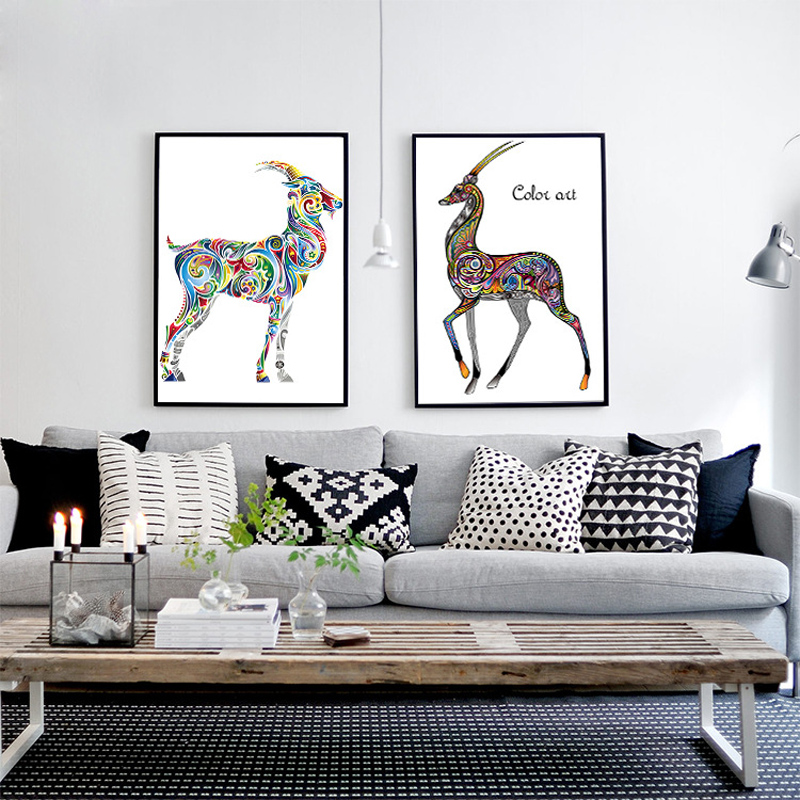 HAOCHU Nordic Style Decorative Canvas Painting Elk Combination Living Room modern Simple Sofa Bedroom Murals Poster Home Decor