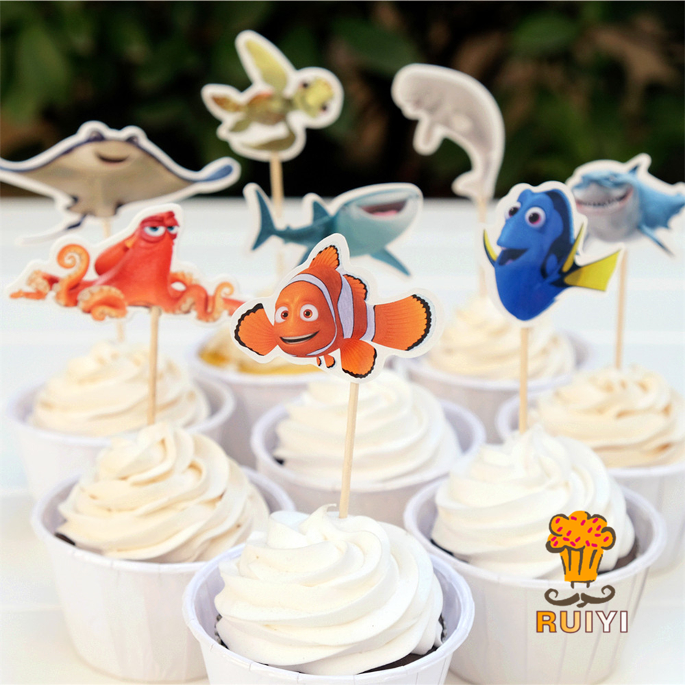 24pcs Finding Dory Marlin Nemo Destiny candy bar cupcake toppers pick baby shower kids b ...