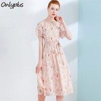 ONLY PLUS S XXL Women Chiffon Dress Summer Print Casual Sweet Ruffles Wrap Dresses Vacation Beach Dress Floral 2018