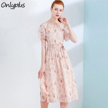 5c17f5286 Solo más S-XXL gasa de las mujeres vestido de verano Casual impresión dulce  volantes vestidos vacaciones playa vestido Floral 2018