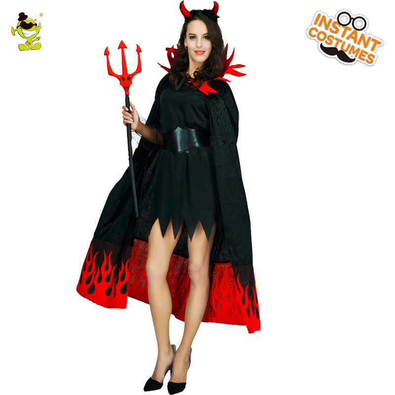 Flames Devil Woman <font><b>Costume</b></font> For Women's <font><b>Sexy</b></font> Evil Queen <font><b>Vampire</b></font> <font><b>Costume</b></font> <font><b>Halloween</b></font> Party Cosplay Fancy Dress Outfits image
