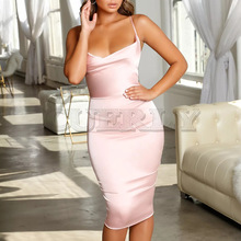 Cuerly Satin Strapless Bodycon Bandage Dress Spaghetti Strap Backless Sheath Summer Dresses 2019 Casual Beach Vestidos