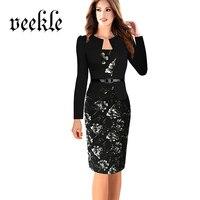 VEEKLE Rose Floral Print Office Pencil Dress Faux Jacket One Piece Elegant Womens Dresses Work Wear