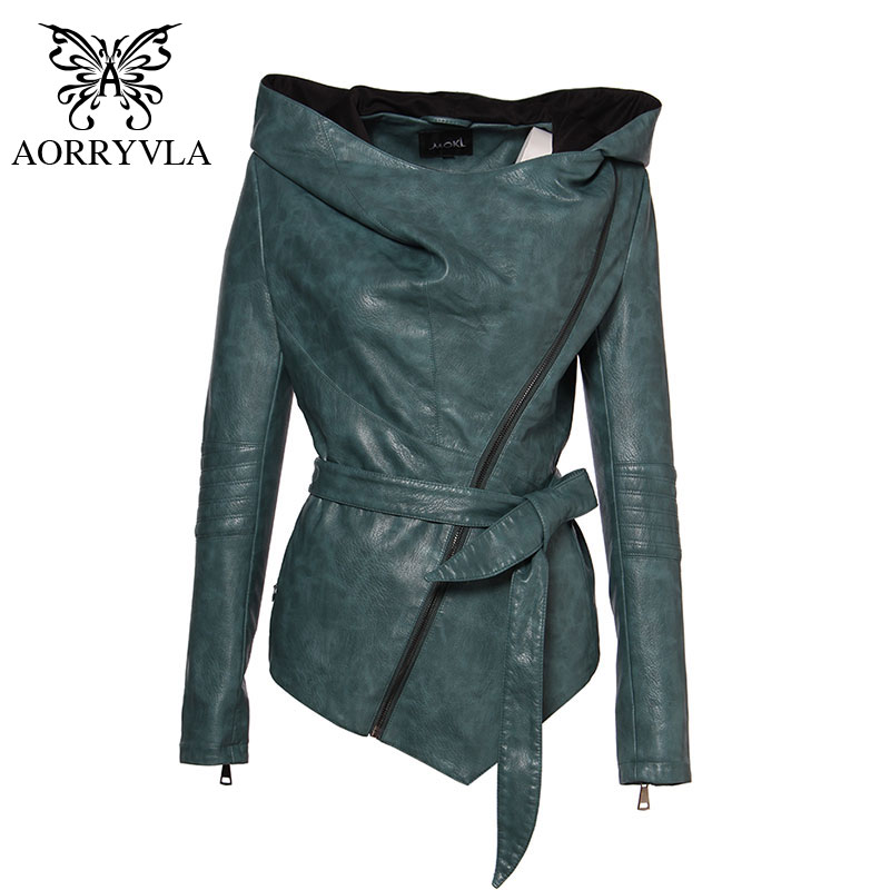 AORRYVLA Brand Women Leather Jacket Full Sleeve Hooded Sashes Casual Jacket Women s Collection PU Leather