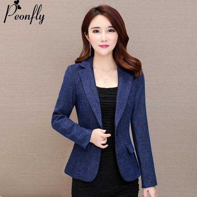 Peonfly Nova Alta qualidade Mulheres blazers e jaquetas cor sólida Moda  manga comprida casual conjunto blazer de6e230dc5c