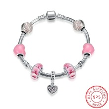 Hot Sale 100% 925 Sterling Silver Bracelet For Women With Heart Charms Beads Fashion Jewelry Original Christmas Gift H012