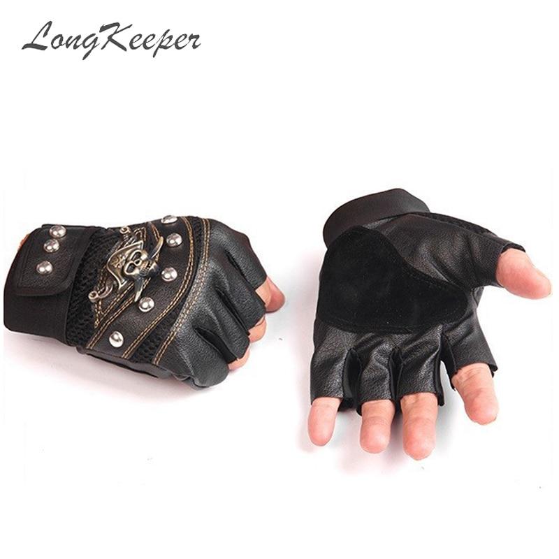 LongKeeper Skull Half Finger Gloves Men Outdoor Riding PU Sport Gloves Women Fitness Tactics Black Red Blue Anti-slip Gloves 308