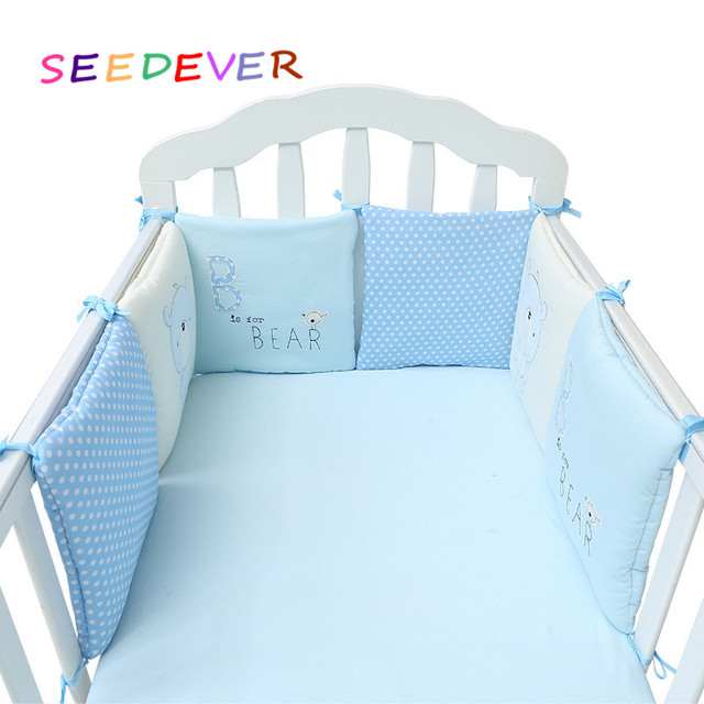6pcs Baby Bed Per Cotton Pillow Bedding Crib Set Cot Pad Animal Printed Healthy Around