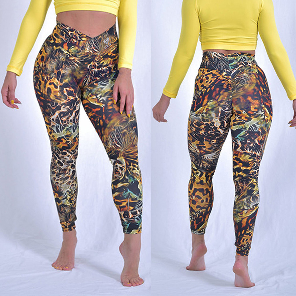 Women's Leopard Printed Tight Sports Fitness Running Sexy Fashion Print Leggings Polyester High Waist Leggings Sprots  7.12(China)
