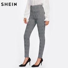 6931ac4b84c9d SHEIN Taille Haute Pantalon Automne Élégant Pantalon Femmes Gris Plaid  Extensible Pantalon Dames Taille Élastique Maigre Pantalo.