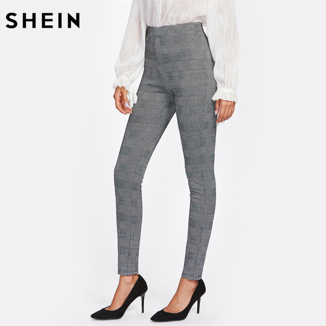 Very best SHEIN High Waisted Pants Autumn Elegant Trousers Women Grey Plaid  XL64