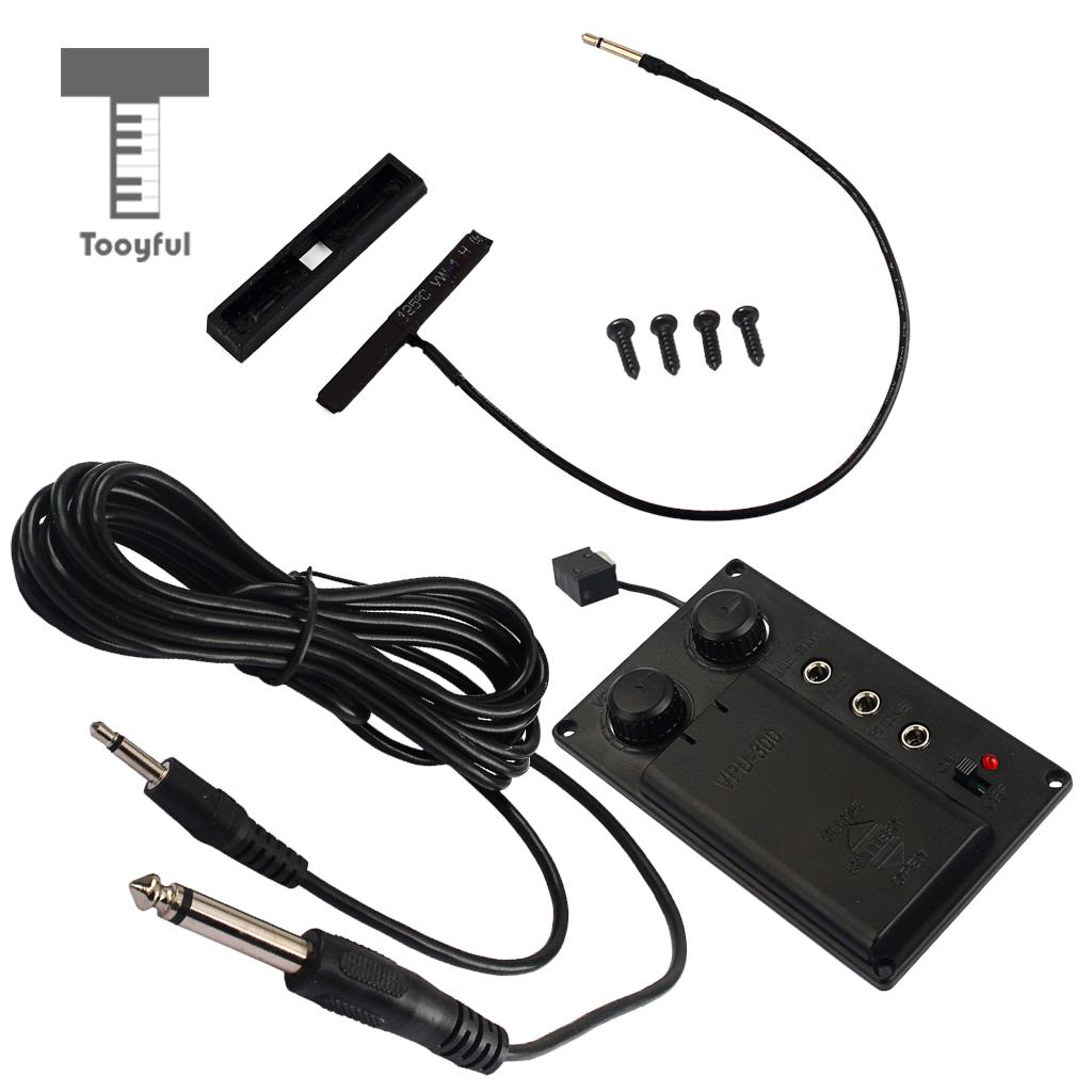 Tooyful Durable Metal Electric Violin Silent EQ Piezo Pickup Transducer with Cable Electronic Violin Parts Black