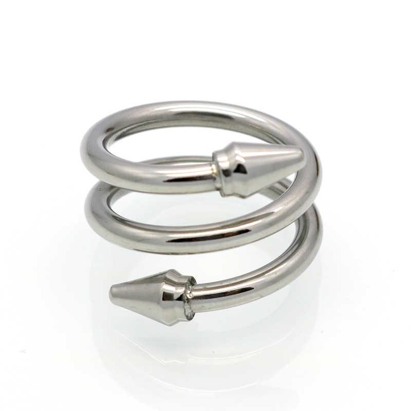 ใหม่มาถึงคุณภาพสูง 3 แถว Layered แหวนไทเทเนียมสตีลลูกศรแหวนแฟชั่นผู้หญิงแบรนด์ Love เครื่องประดับกรวยเล็บแหวน