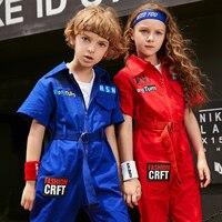 Tide Jazz Dance Costume Suit Boy Girl Street Hip Hop Dance Jumpsuit Kids Uniform Children Drum Show Clothes Stage Wear Outfits