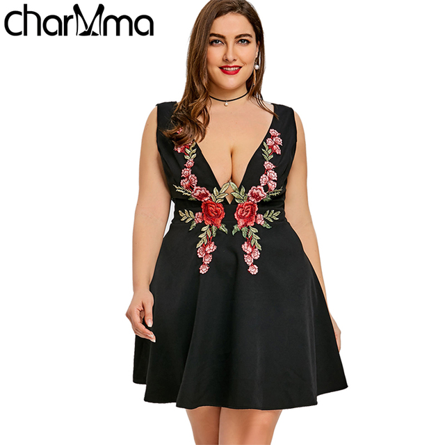 2018 Fashion Women Ladies Sexy Dresses Floral Embroidered Plus Size