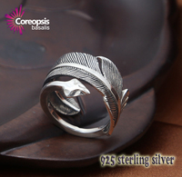 Hot Sale Classic Retro Style High Quality 925 Sterling Silver Eagle Feather Arrow Fashion Open