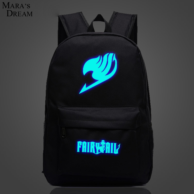 Mara's Dream Fairy Tail Backpack Japan Anime Printing School Bag for Teenagers Cartoon Travel Bag Canvas Fashion Mochila Galaxia fairy tail shoulders school bags anime canvas luminous printing backpack schoolbags for teenagers mochila feminina