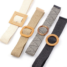 Straw woven belt male and female student round buckle fashion casual decoration versatile pants elastic
