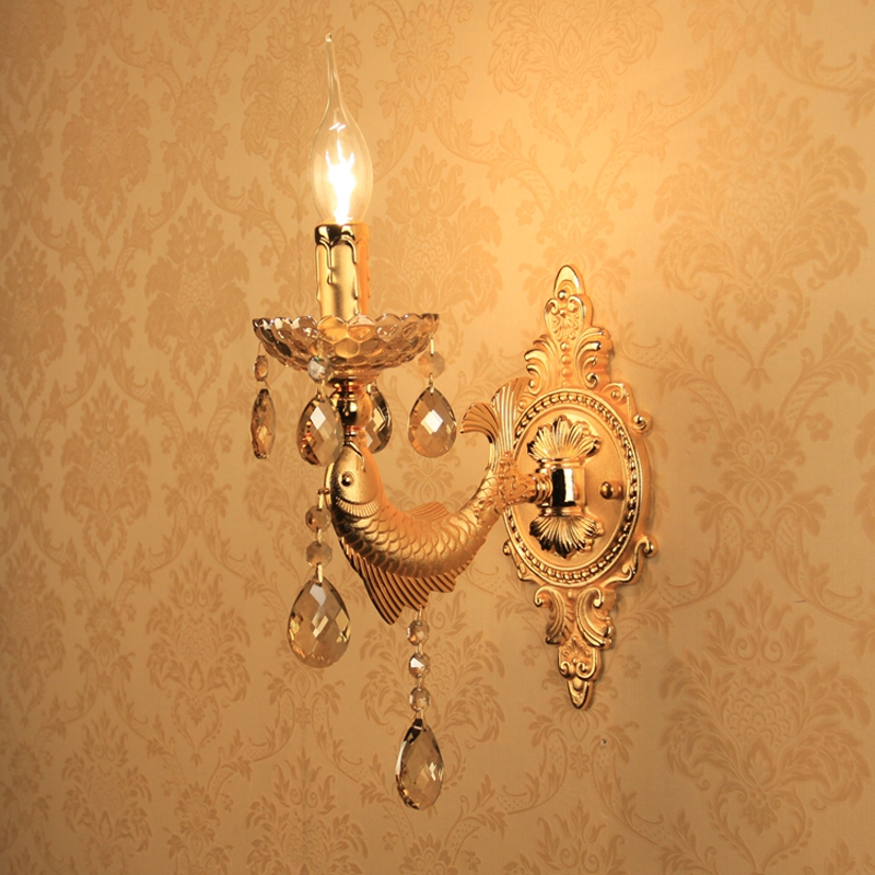 Image 4 - Gold Wall Sconce Decoration Vintage Crystal Wall Light Surface Mounted Crystal Wall Lamp for Bedroom Lights Sconce Bathroom Lamp-in Wall Lamps from Lights & Lighting